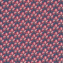 Afklip Patchwork stof i petrol-blå med lyserøde blade 50x55 cm.