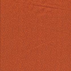 Patchwork stof i orange med små blade