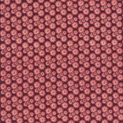 Patchwork stof med små blomster i brun støvet koral og hvid
