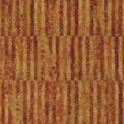 Patchworkstof batik i aflange striber i rust, gylden og guld