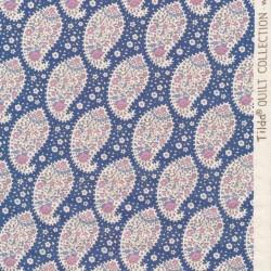 Tilda Patchwork stof i støvet blå med sjalsmønster