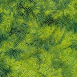 Afklip Patchworkstof batik med mønster i lime og grøn 50x55 cm.