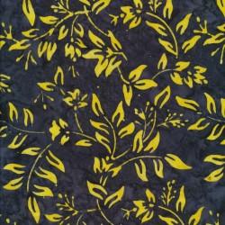 Afklip Patchworkstof batik med blad mønster i koks og gul 50x55 cm.