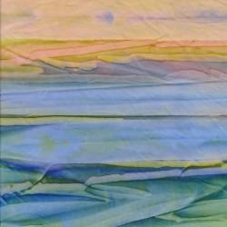 Afklip Patchworkstof batik i retro stripe irgrøn blå gul 50x55 cm.