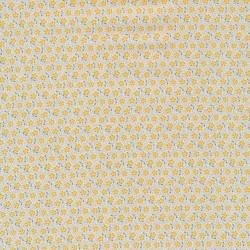 Afklip Tilda Patchwork stof med lille blomst i offwhite carry og gråblå 50x55 cm.