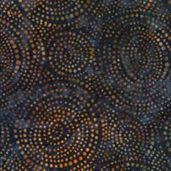 Afklip Patchworkstof batik med prikker i cirkler i mørk grå-grøn 50x55 cm.