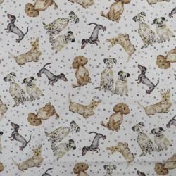 Patchwork stof i knækket hvid med hunde