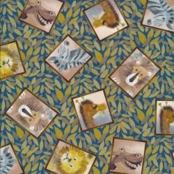 Patchwork stof med blade og dyr i firkant