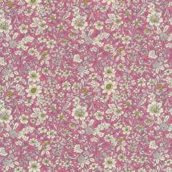 Afklip Bomulds-poplin med blomster rosa off-white lime 50x55 cm.