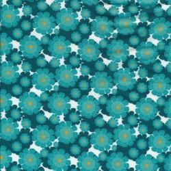 Patchwork stof med blomster i hvid, petrol og aqua