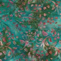 Patchworkstof batik med blade i irgrøn rosa