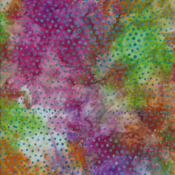 Afklip Patchworkstof batik med prikker i multifarvet 50x55 cm.