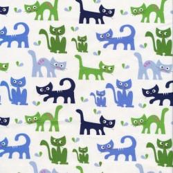 Patchwork stof med katte i hvid, grøn og blå