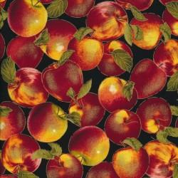 Afklip Patchwork stof i sort med æbler, 50x55 cm.