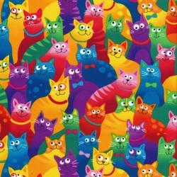 Patchwork stof multifarvet med katte