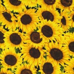 Afklip Patchwork stof med solsikke, 50x55 cm.