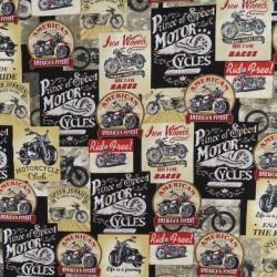 Afklip Patchwork stof med motorcykler i sort, beige, rød, 50x55 cm.