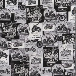 Afklip Patchwork stof med motorcykler i sort, grå, hvid, 50x55 cm.