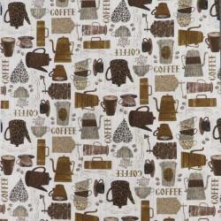 Afklip Patchwork stof i offwhite med kaffe, 50x55 cm.