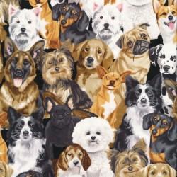 Afklip Patchwork stof med hunde, 50x55 cm.