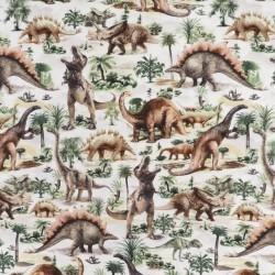 Patchwork stof i offwhite med dinosaurus