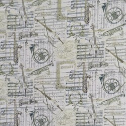 Patchwork stof med Music i offwhite, grå, guld