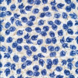 Afklip Patchwork stof med blå blomster, 50x55 cm.