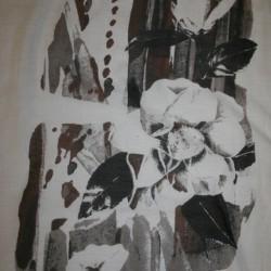 Bomuld/silke-voil m/blomster-motiv, hvid/brun/grå