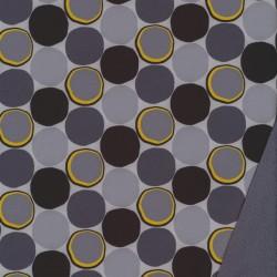 Rest Softshell med cirkler i grå sort gul- 75 cm.