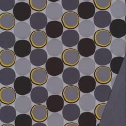 Softshell med cirkler i grå sort gul