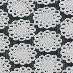 Rest Jacquard strik m/flacon/cirkel sort/knækket hvid- 85 cm.