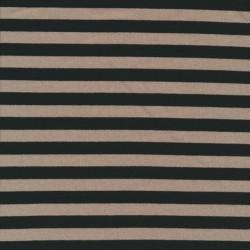 Rest Jersey - strik viscose lycra stribet i sort og beige- 85 cm.
