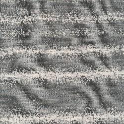 Strik i bomuld polyester med dufuse striber i sort og offwhite