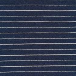 Stribet strik i støvet blå, lysegrå og offwhite