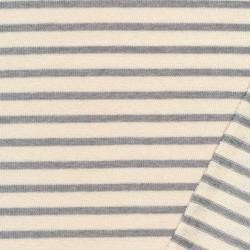 Stribet strik i offwhite og lysegrå