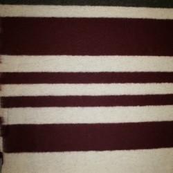 Bred-stribet uld, bordeaux/off-white/brun