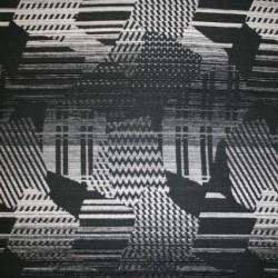 Rest Mønstret uld sort/grå/off-white- 70 cm.