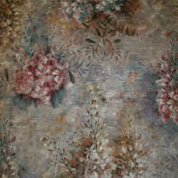 Fast Velour m/digitalt blomster-print lysegrå/rosa/lyselilla