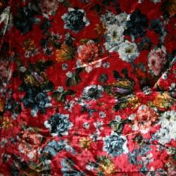 Velour med blomster rød denim rosa
