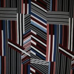 100% viskose med stribe-mønster i sort rosa blå