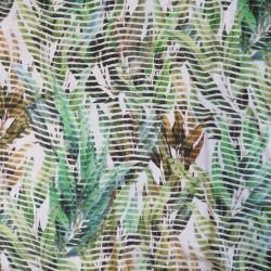 100% viskose med strib og blade i hvid grøn lime okker-brun