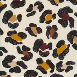 Let 100% viscose med leopard pletter i offwhite sort carry brun