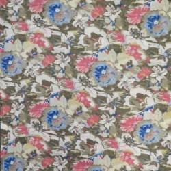 Voil i viskose/bomuld med blomster i army-brun rosa blå