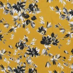 100% viskose twill-vævet med blomster i carry sort grå