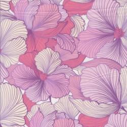 Let 100% viscose med hibiscus i pink, creme og lyserød