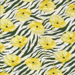 Let 100% viscose zebra print og gul blomst