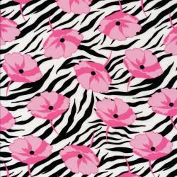 Let 100% viscose zebra print og lyserød blomst