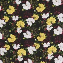 Let 100% viscose i sort med blomster