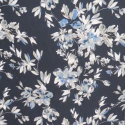 100% viskose twill-vævet i mørkeblå med grå og denim blomster