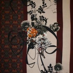 Viscose elasthan med strib og stort blomster print